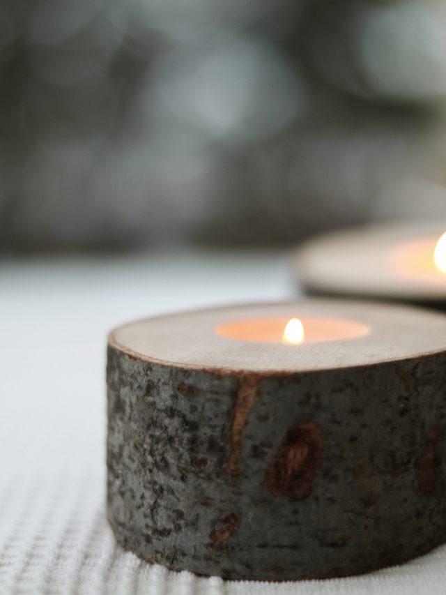 Suporți din lemn pentru lumânare