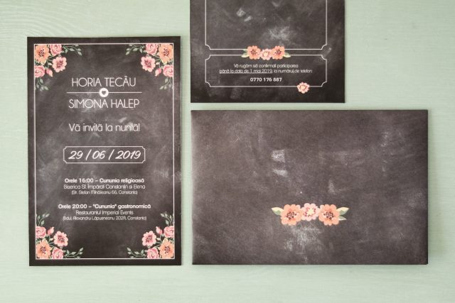 Invitație tip postcard, cu plic